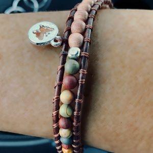 Leather and Matte Picasso Jasper Stone Bracelet